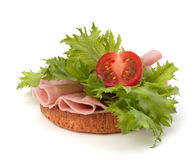 Healthy sandwich with vegetable and smoked ham Royalty Free Stock Photos