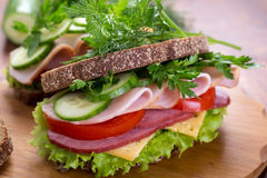 Healthy sandwich on whole wheat bread Royalty Free Stock Image