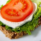 Healthy sandwich. With wholegrain bread, salad, cheese and tomato Stock Photo