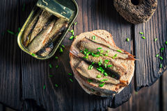 Healthy sandwich wirh sardines with on the wholegrain bread Stock Image