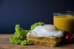 Healthy sandwiches with cheese and easily fried egg presented on a wooden board with salad, tomato and orange juice. Tasty food Stock Photo
