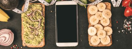 Healthy sandwiches, flat lay stock image