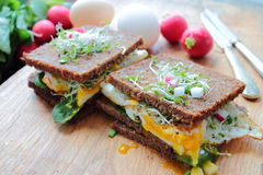 Healthy sandwiches with poached eggs Stock Image