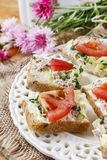 Healthy sandwiches with tomatoes, lettuce and fish Royalty Free Stock Photos