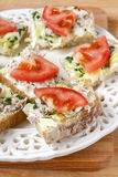 Healthy sandwiches with tomatoes, lettuce and fish Stock Photo