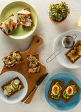 Healthy sandwiches with various fillings on crisp rye bread. Stock Photography
