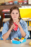 Healthy school lunch. Young student with a healthy schoollunch Stock Images