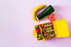 Healthy school lunch box with beef sandwich and fresh vegetables. Bottle of water and fruits on pink background. Top view. Flat lay royalty free stock photos