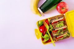 Healthy school lunch box with beef sandwich and fresh vegetables. Bottle of water and fruits on pink background. Top view. Flat lay stock photography
