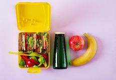 Healthy school lunch box with beef sandwich and fresh vegetables. Bottle of water and fruits on pink background. Top view. Flat lay stock photos