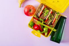 Healthy school lunch box with beef sandwich and fresh vegetables. Bottle of water and fruits on pink background. Top view. Flat lay royalty free stock photo