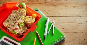 Healthy school lunch box with nutritious food royalty free stock photo