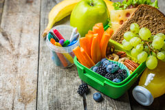 Healthy school lunch box Royalty Free Stock Photos