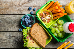 Healthy school lunch box Stock Photos