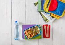 Healthy school lunch box on white wood background, top view Royalty Free Stock Photo