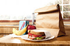 Healthy School Lunch with brown bag Royalty Free Stock Images