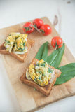 Healthy Scrambled Egg and wild garlic Sandwich Royalty Free Stock Photo