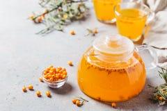 Healthy sea buckthorn tea stock photos