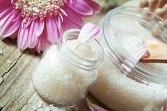 Healthy Sea Salt in Bottles Royalty Free Stock Image