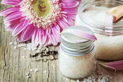 Healthy Sea Salt in Bottles Royalty Free Stock Images