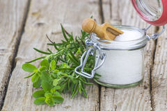 Healthy sea salt and fresh herbs Stock Photo