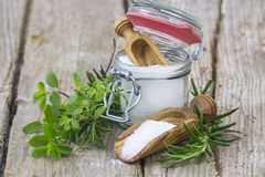 Healthy sea salt and fresh herbs Stock Image