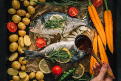 Healthy seafood with vegetables, herbs and spices. Royalty Free Stock Images