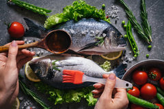 Healthy seafood with vegetables, herbs and spices. Royalty Free Stock Photos