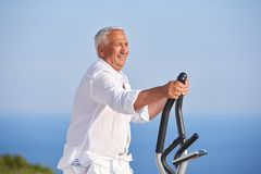 Healthy senior man working out Stock Photo