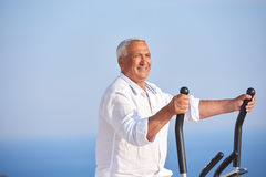 Healthy senior man working out Stock Image
