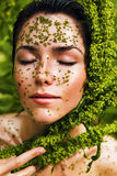 Healthy sensual woman in plant grains Royalty Free Stock Images