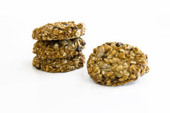 Healthy sesame, oat and chocolate cookies Royalty Free Stock Photo
