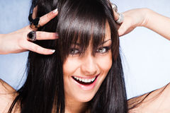 Healthy and shiny hair. Smiling young woman with healthy and shiny long  hair Stock Photography