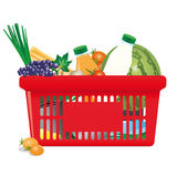 Healthy shopping cart vector illustration