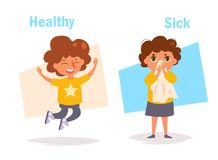 Healthy Sick Opposite. Antonyms Vector. Cartoon. Isolated art on white background. Flat royalty free illustration
