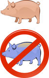 Healthy and sick pig Stock Photos