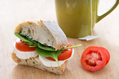 Healthy Simple Sandwich made of bread, cheese, and spinach Royalty Free Stock Photos