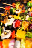 Healthy Skewers on the Barbecue Royalty Free Stock Photography