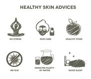Healthy skin advices symbol collection Stock Images