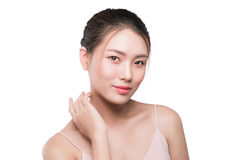 Healthy skin concept. portrait of beautiful woman model with fre. Sh daily makeup looking at camera Royalty Free Stock Images