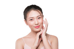 Healthy skin concept. portrait of beautiful woman model with fre. Sh daily makeup looking at camera Stock Images