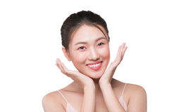 Healthy skin concept. portrait of beautiful woman model with fre Royalty Free Stock Photo