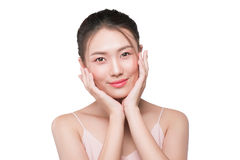 Healthy skin concept. portrait of beautiful woman model with fre. Sh daily makeup looking at camera, touching her face Royalty Free Stock Image