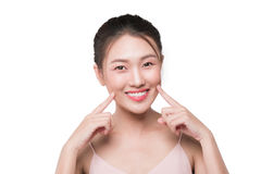 Healthy skin concept. portrait of beautiful woman model with fre. Sh daily makeup looking at camera, touching her face Royalty Free Stock Images