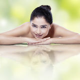 Healthy skin of girl with water reflection Stock Photography