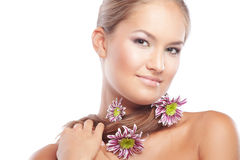Healthy skin and hair. Portrait of beautiful female with healthy skin and hair Royalty Free Stock Image