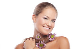 Healthy skin and hair. Portrait of beautiful female with healthy skin and hair Royalty Free Stock Photography
