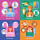 Healthy Sleep Concept Flat Icons Square. Healthy bedroom for long sleep tips 4 flat icons square composition infographic elements poster abstract vector Royalty Free Stock Photo