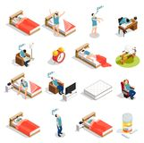 Healthy Sleep And Disorders Icons. Healthy sleep and disorders isometric icons set with insomnia, dream during trip, counting sheep isolated vector illustration Stock Image