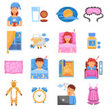Healthy Sleep Flat Icons Set. Healthy sleep habits symbols flat icons set with bedroom relaxation medicine and accessories abstract  vector illustration Stock Photography
